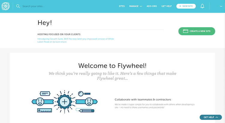 Flywheel hosting main interface for new accounts