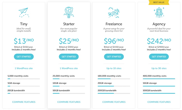 Flywheel managed WordPress plans with prices