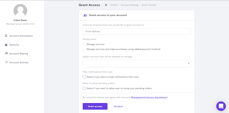 Hostinger account management access for users