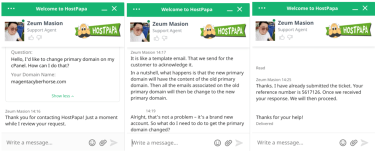 Live chat with HostPapa agent