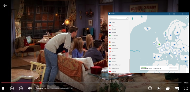 Watching Friends online with NordVPN connected to UK