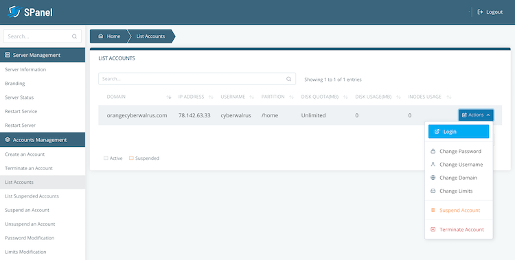 SPanel control panel account management in server panel