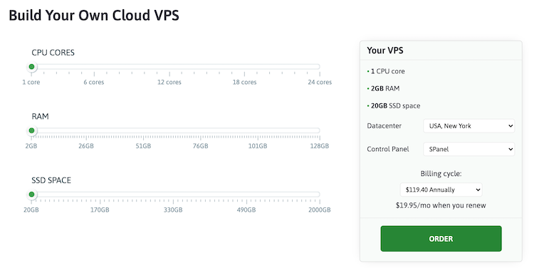 ScalaHosting Managed VPS server prices and configurations