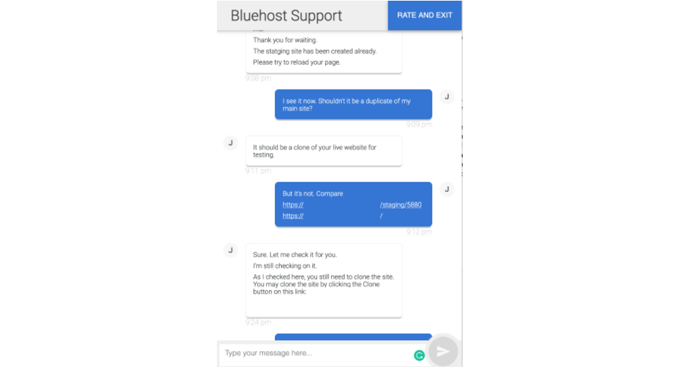 Bluehost live chat support about staging