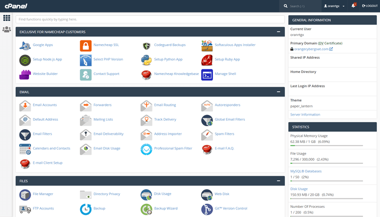 cPanel hosting management with Namecheap