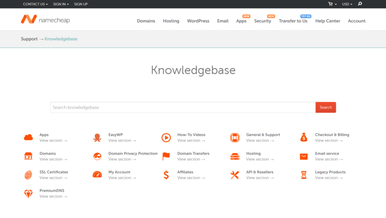 Knowledge base with Namecheap
