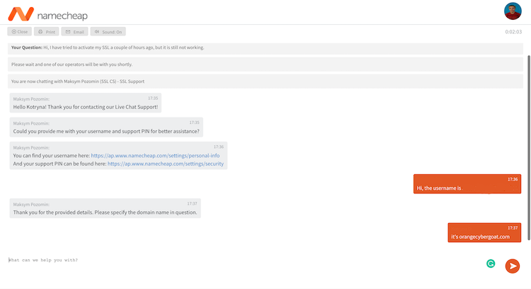 Live chat with Namecheap agent 1