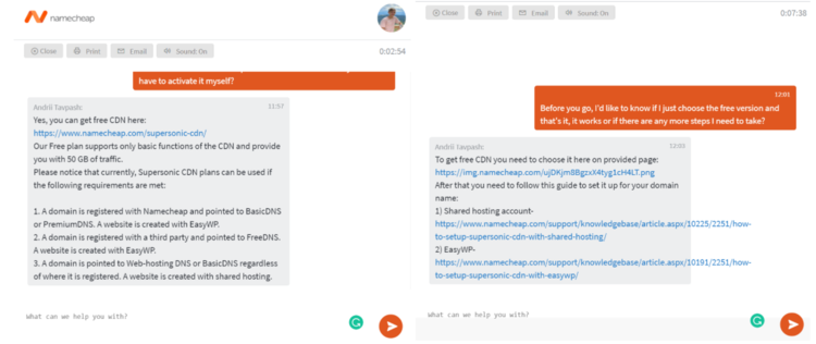 Live chat with Namecheap support