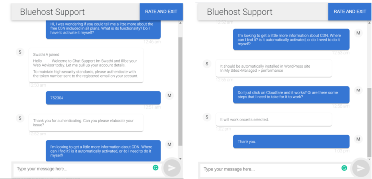 Live chat with Bluehost support