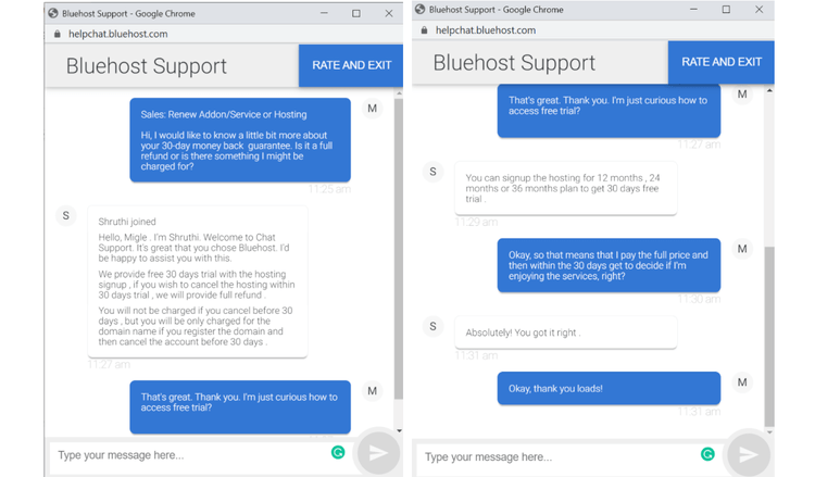 Live chat with Bluehost's sales team