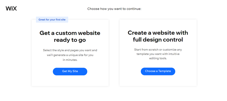 Choosing how to set up a website with Wix