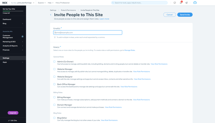 Wix Site Roles functionality management area