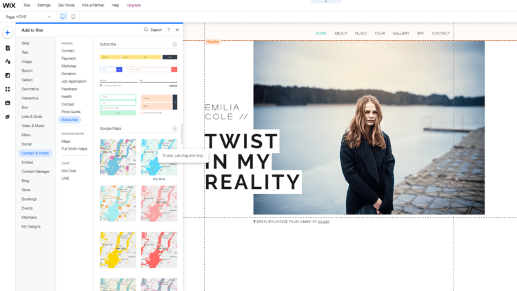 Wix drag-and-drop editor