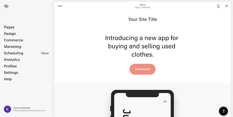 Squarespace website builder interface and management area