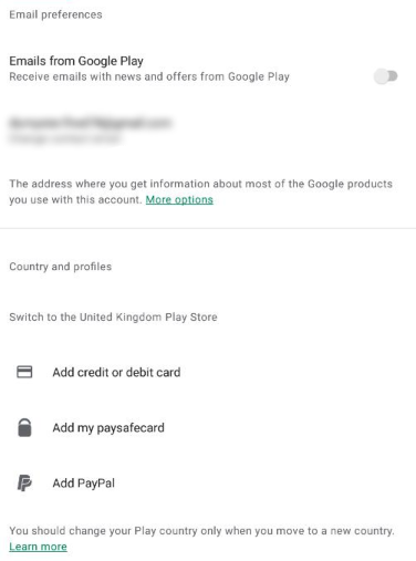 android country selection screen