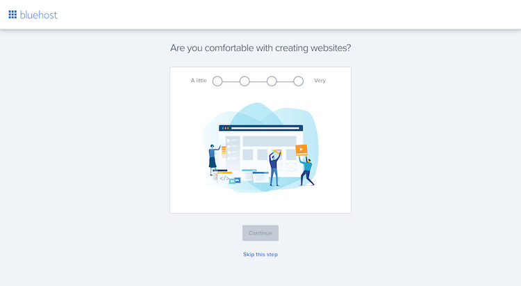 Starting the website set up with Bluehost