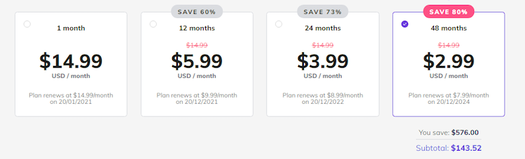 prepayment pricing example for cheap web hosting