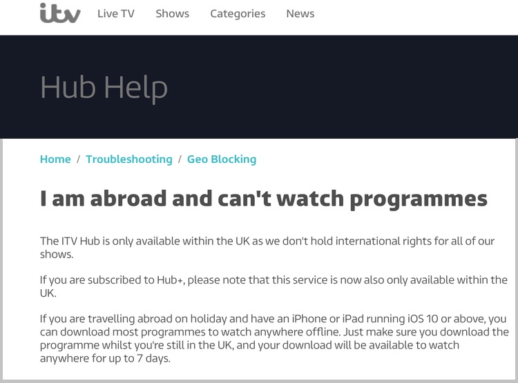 ITV Hub Help section - I am abroad and can't watch programmes