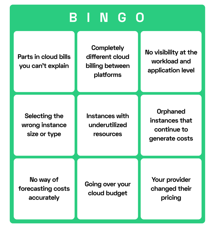 Cloud service issues in a Bingo game form
