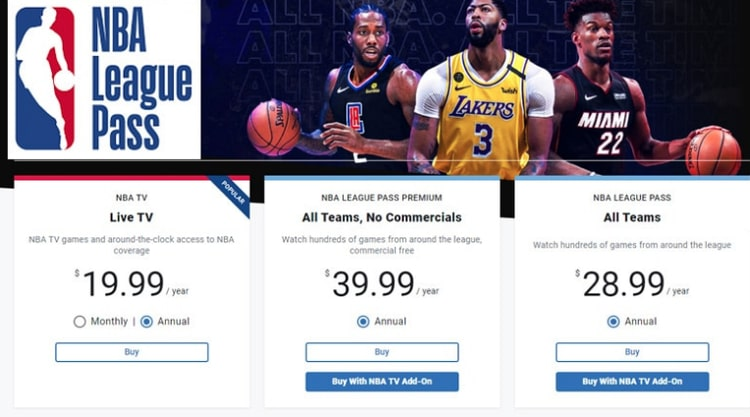 NBA League Pass pricing to watch online