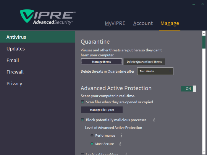 Vipre Antivirus review real-time protection