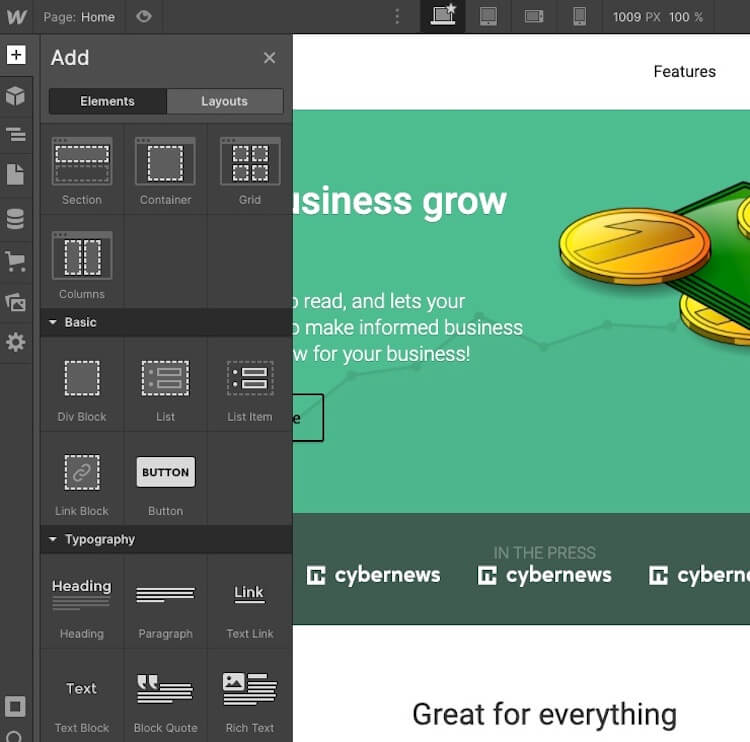 webflow adding new elements and layouts