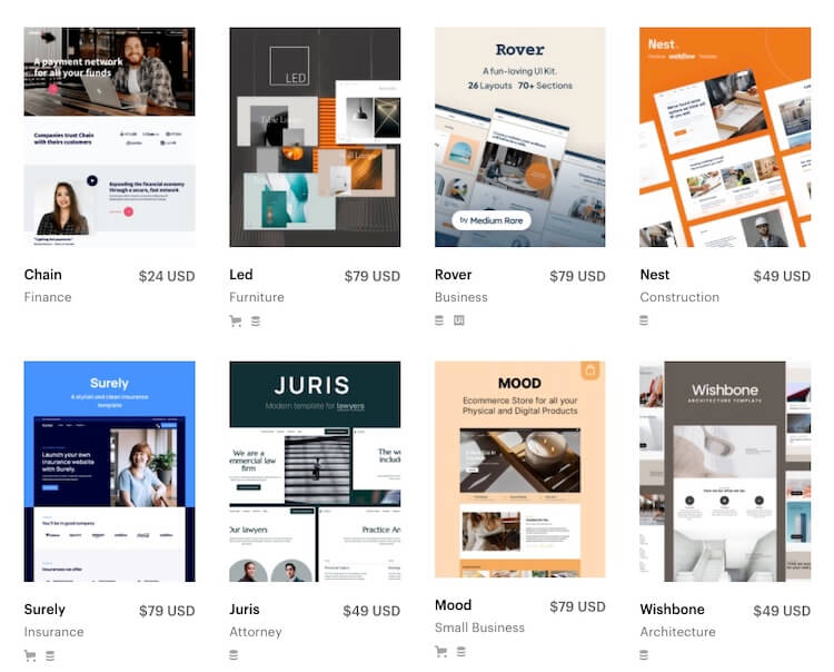 webflow template options are paid