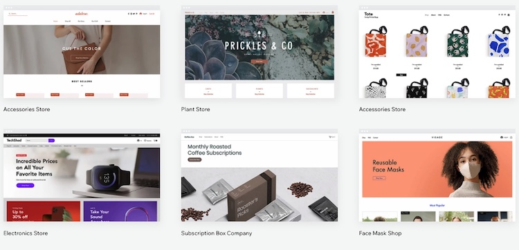 wix store template list