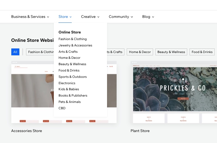 wix store templates