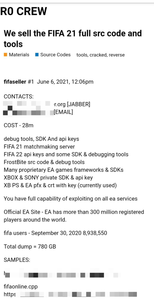 , Electronic Arts breach: FIFA 2021 and Frostbite source codes, 9 million user records stolen from EA and sold online