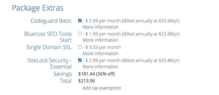 Extra features added in the checkout cart