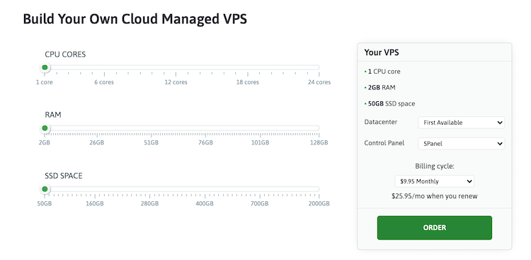 ScalaHosting VPS plan and pricing configuration