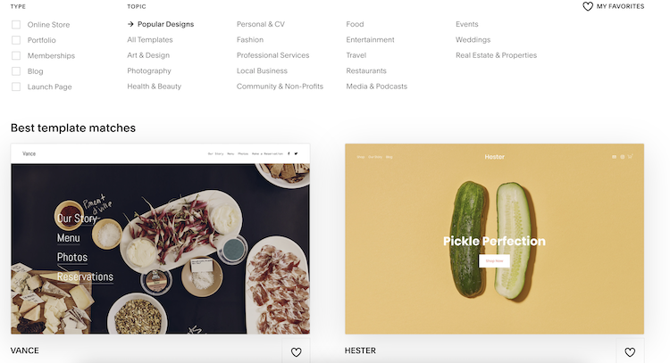 squarespace template suggestions