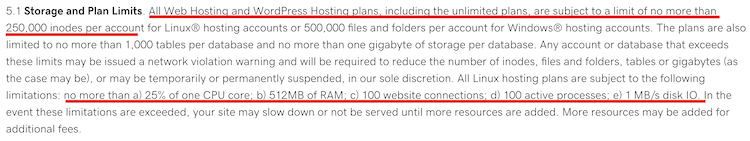 Unlimited hosting terms