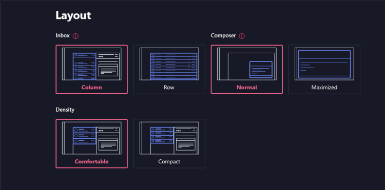 protonmail layout options