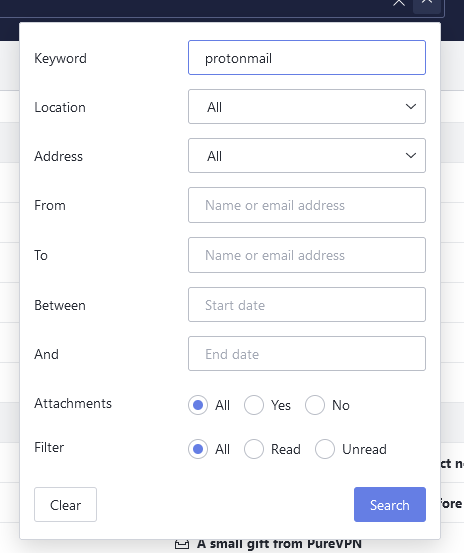 protonmail quick search bar