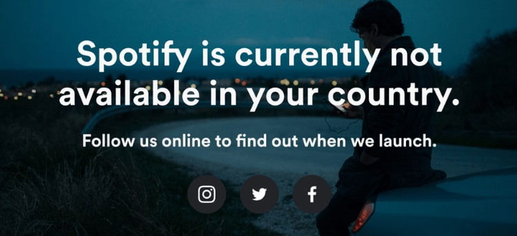 Spotify is currently not available in your country