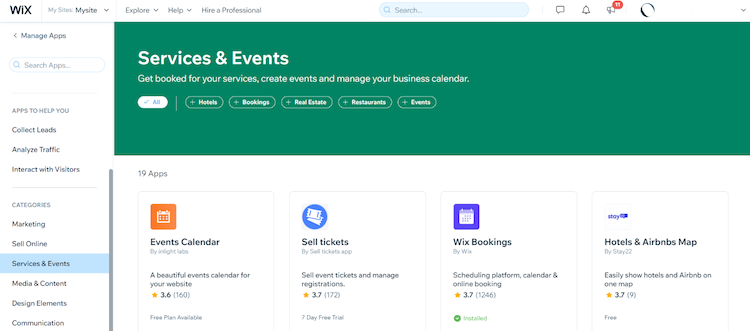 wix services and events app list