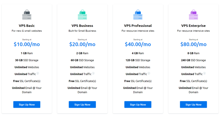 DreamHost VPS plans with prices