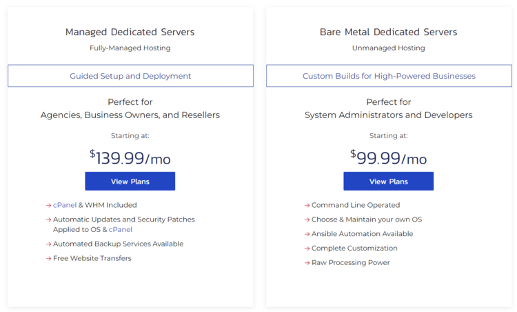InMotion Hosting dedicated server plans with prices