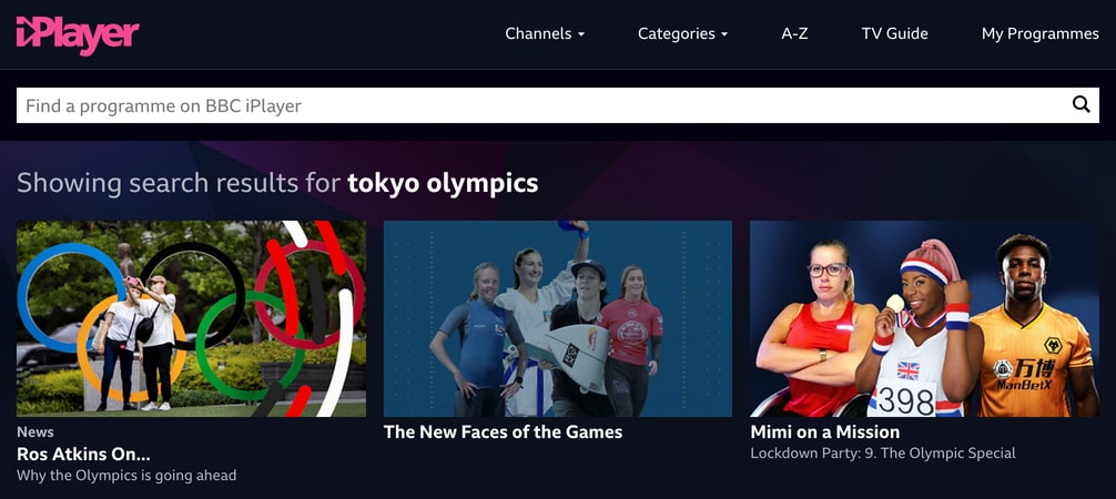 Search results for tokyo olympics on BBC iPlayer