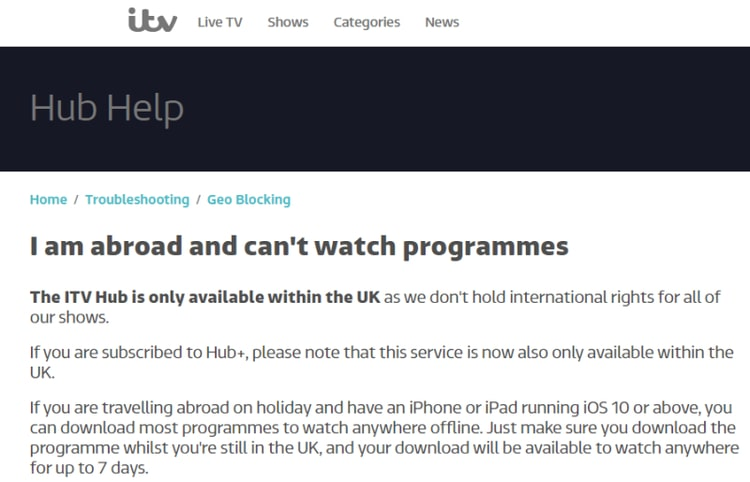 ITV Troubleshooting. I am abroad and can't watch programmes.