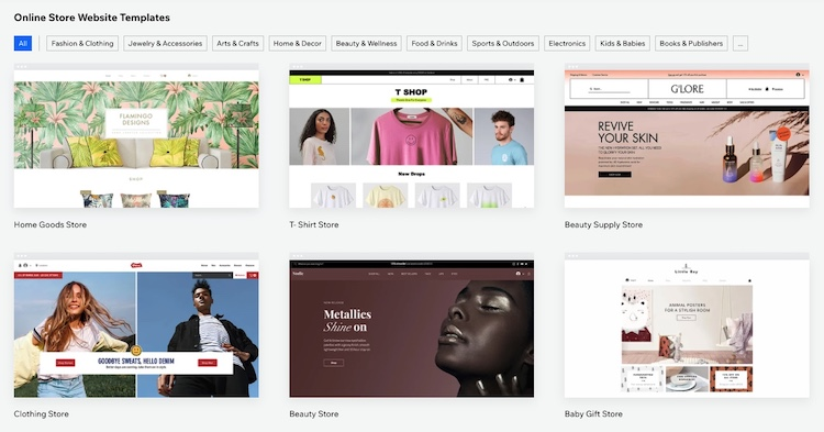 wix online store themes