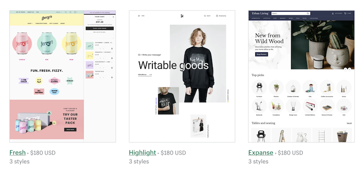 shopify paid templates