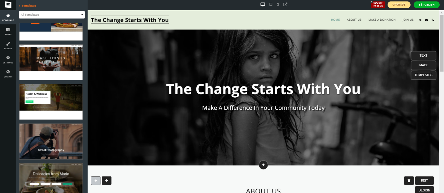 site123 template examples for nonprofits