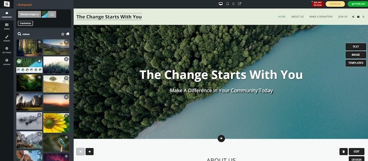 site123 editor and template examples