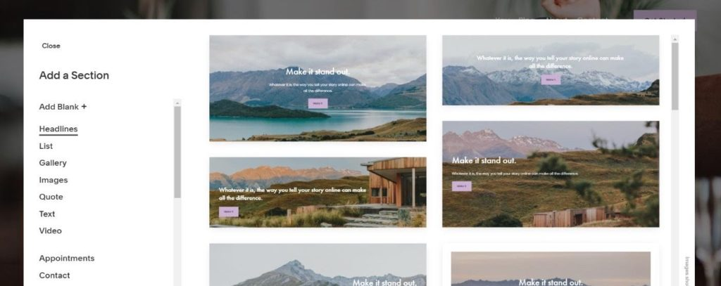 squarespace sections example
