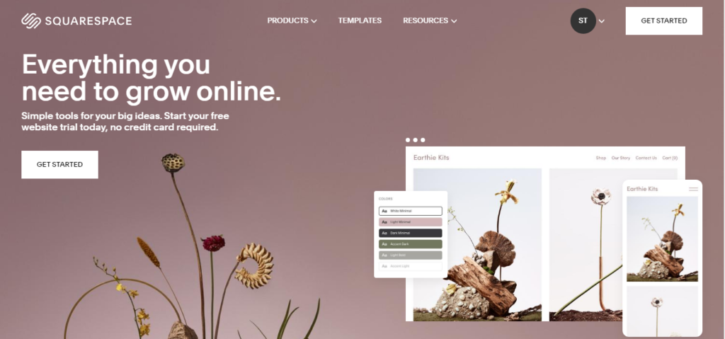 Squarespace start page
