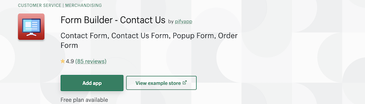 Form Builder – Contact UsShopify app